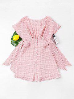 Gingham Plunging Neck Mini Dress - Pink L