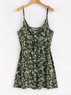 Floral Button Tie Front Mini A Line Dress - Jungle Green L