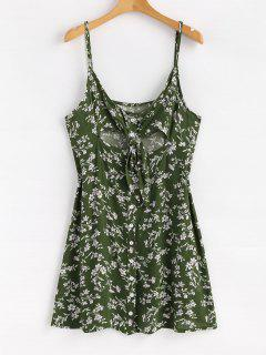 Floral Button Tie Front Mini A Line Dress - Jungle Green M