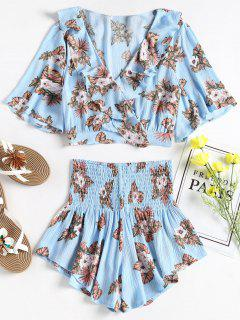 Floral Surplice Top And Shorts Matching Set - Sky Blue L