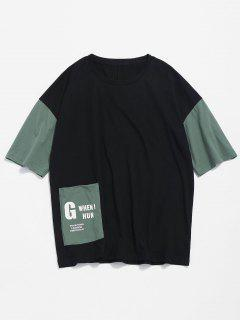 Color Block Pocket Tee - Black M