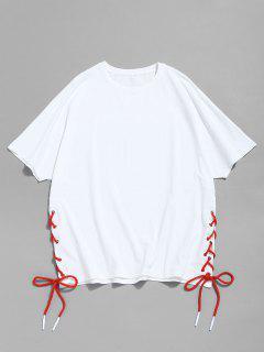 Camiseta Con Manga Raglán Con Cordones - Blanco Xl