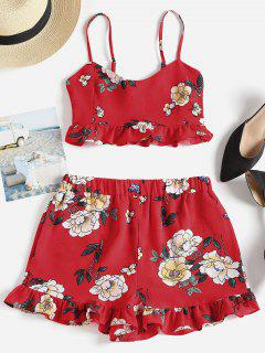 Floral Cami Top And Shorts Matching Set - Love Red L