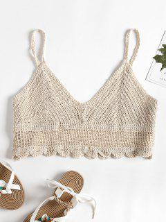 Crochet Cami Bralette Crop Top - Albaricoque