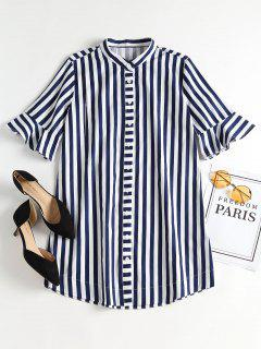 Bell Sleeve Striped Mini Shirt Dress - Blueberry Blue M