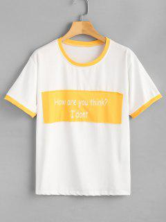Text Print Oversized Graphic Tee - Yellow L