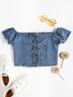 Off The Shoulder Denim Crop Top - Blue M