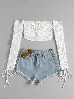 Long Sleeve Ruched Crop Top - White Xl