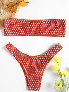 Polka Dot Strapless Bikini - Chestnut Red S
