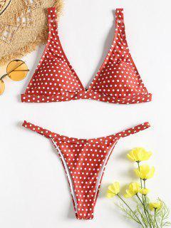 Bikini String à Pois - Châtaigne Rouge M