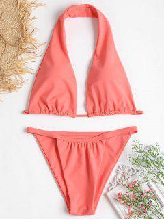 Hohes Bein Halter Bikini - Wassermelonen Rosa S