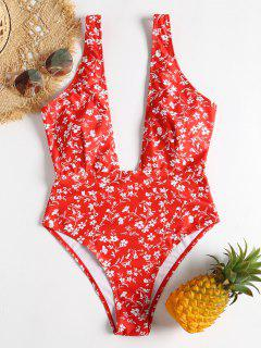 Low Cut Tiny Floral Swimsuit - Red L
