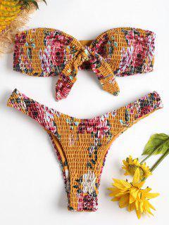 Smoked Blumen Hohes Bein Bikini - Schulbus Gelb S