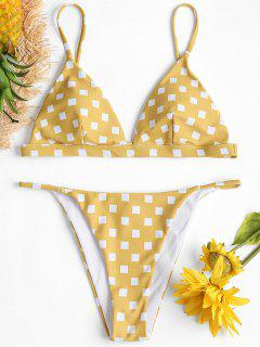 Square Print String Bikini Set - Sun Yellow S
