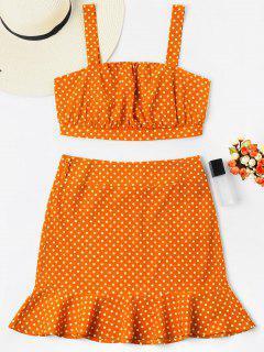Polka Dot Crop Top With Fishtail Skirt - Orange M
