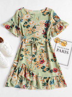 Floral Ruffle Hem Shift Dress - Frog Green L
