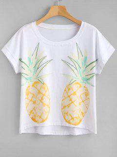 Short Sleeves Pineapple Print Tee - White L