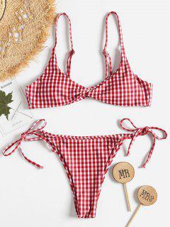Twist Vorder Gingham String Bikini Set - Multi S