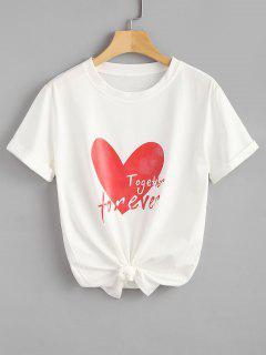 Camiseta Estampada Con Estampado De Corazones De Algodón - Blanco 2xl