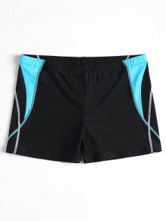 Stitching Color Block Swim Trunks - Black L