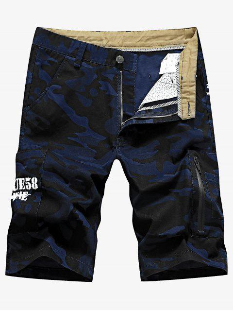 online Camo Pocket Cargo Shorts - DENIM DARK BLUE 40 Mobile
