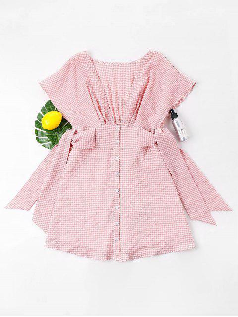 Gingham Tiefer Ausschnitt Minikleid - Rosa XL Mobile