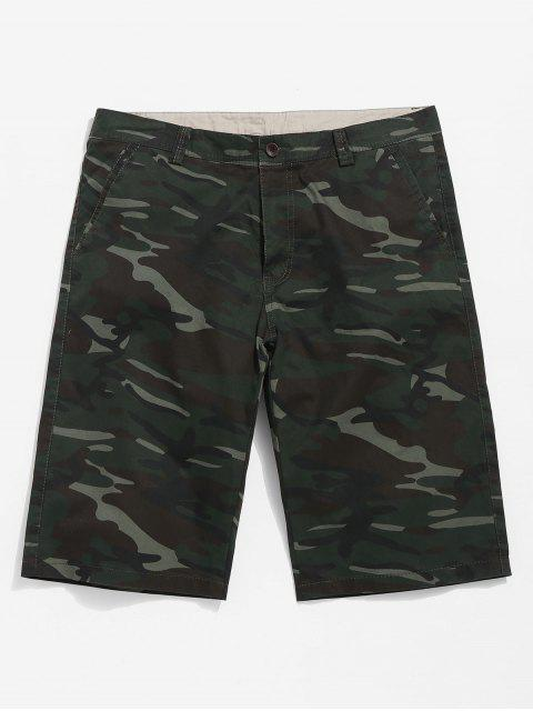 womens Camouflage Casual Shorts - CAMOUFLAGE GREEN 30 Mobile