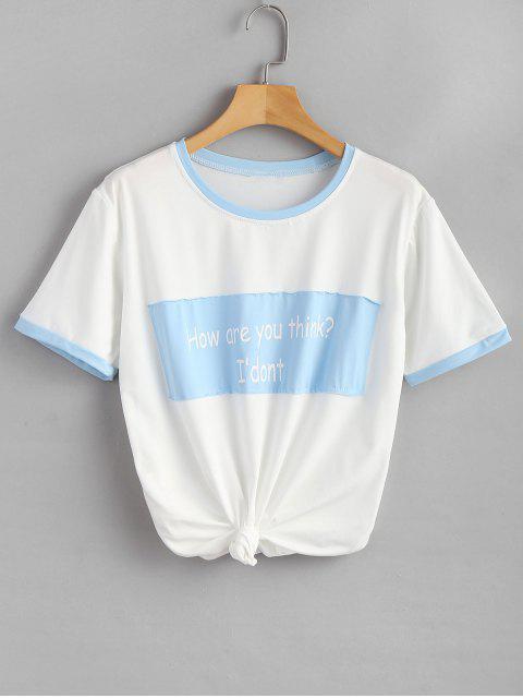 Camiseta estampada extragrande con estampado de texto - Azul Mariposa  2XL Mobile