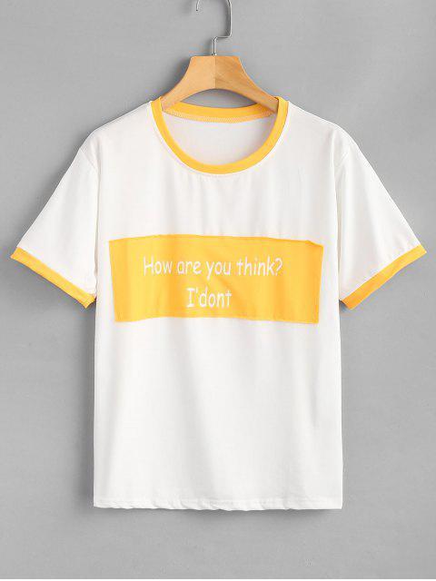 Camiseta estampada extragrande con estampado de texto - Amarillo 2XL Mobile