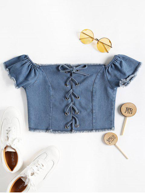 Top corto con hombros descubiertos The Shoulder Denim - Azul L Mobile