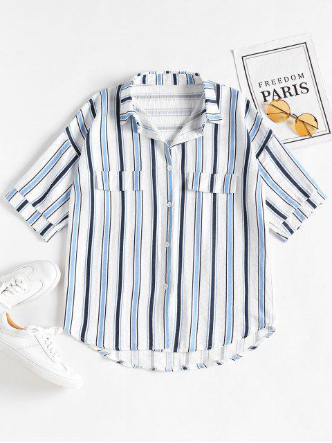 Camisa extragrande de novio informal con rayas - Azul de Arándanos Única Talla Mobile