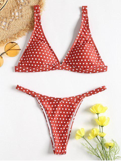 shops Polka Dot String Bikini - CHESTNUT RED L Mobile