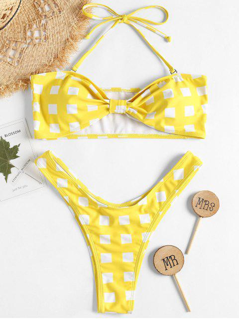 sale Bowknot Gingam Bandeau Bikini - YELLOW S Mobile