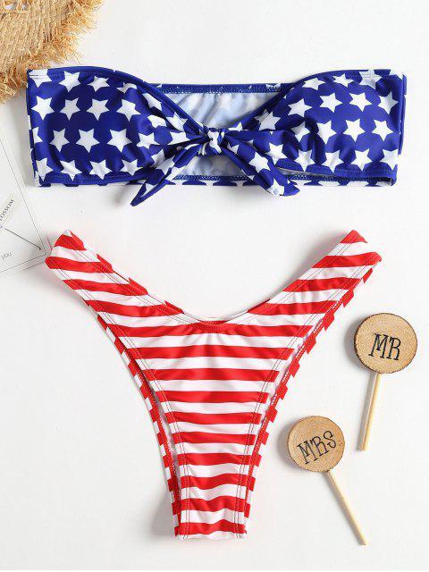 outfit American Flag Knot Bandeau Bikini - COBALT BLUE S Mobile