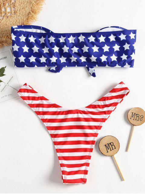 outfits American Flag Knot Bandeau Bikini - COBALT BLUE L Mobile