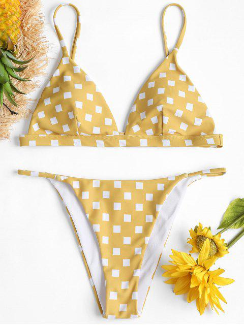 affordable Square Print String Bikini Set - SUN YELLOW S Mobile