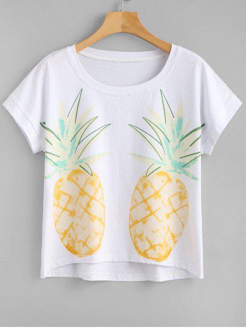 Camiseta de manga corta con estampado de piña - Blanco M Mobile
