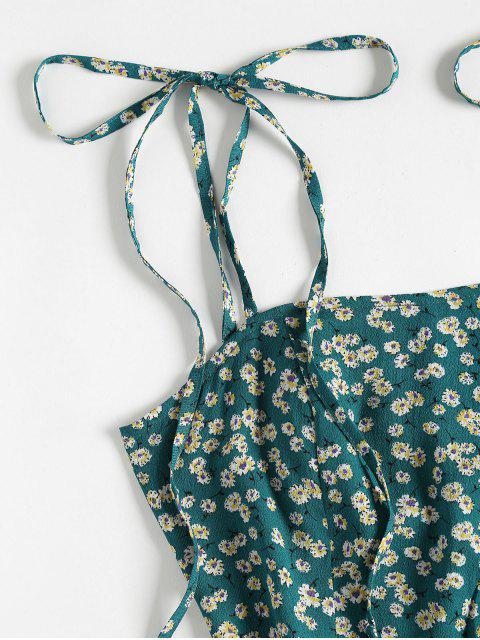 trendy ZAFUL Floral Tie Strap Apron Mini Sundress - GREENISH BLUE S Mobile