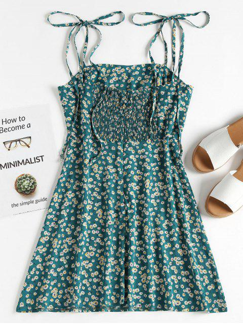 ZAFUL Floral Tie Strap Delantal Mini Sundress - Azul Verdoso S Mobile