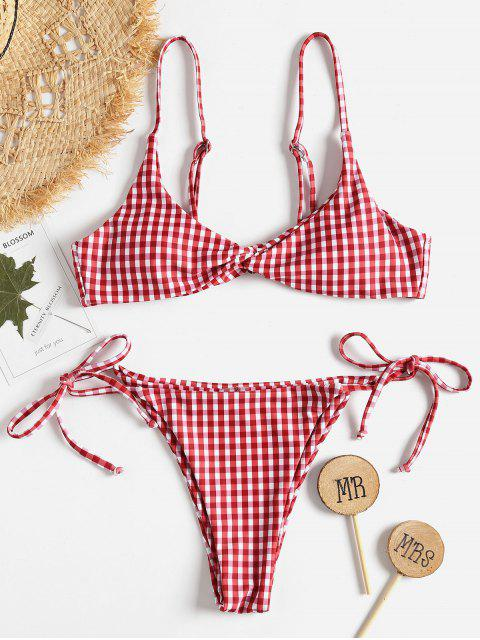 online Twist Front Gingham String Bikini Set - MULTI L Mobile