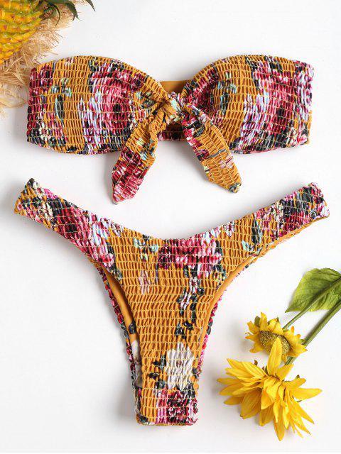 latest Smocked Floral High Leg Bikini - SCHOOL BUS YELLOW S Mobile