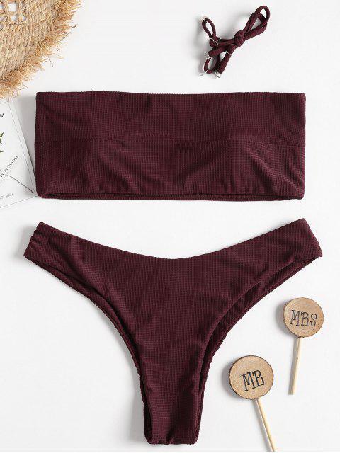 women Textured Bandeau Bikini - RED WINE L Mobile