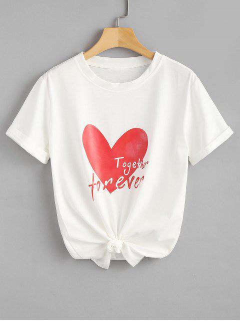T-shirt à Imprimé Coeur et Slogan - Blanc 2XL Mobile