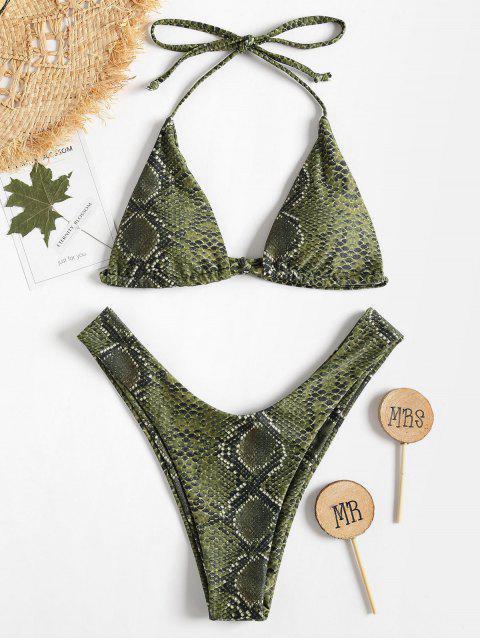 Bikini à Jambes Haute avec Col Halter et Imprimé de Peau de Serpent - Vert Fougère M Mobile