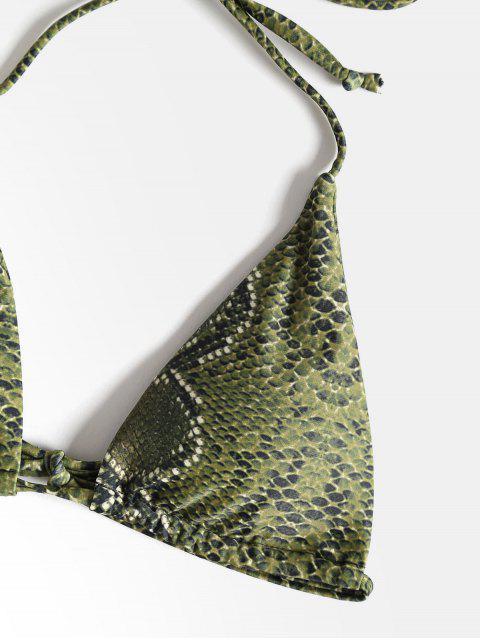 womens Halter Snakeskin High Leg Bikini - FERN GREEN L Mobile