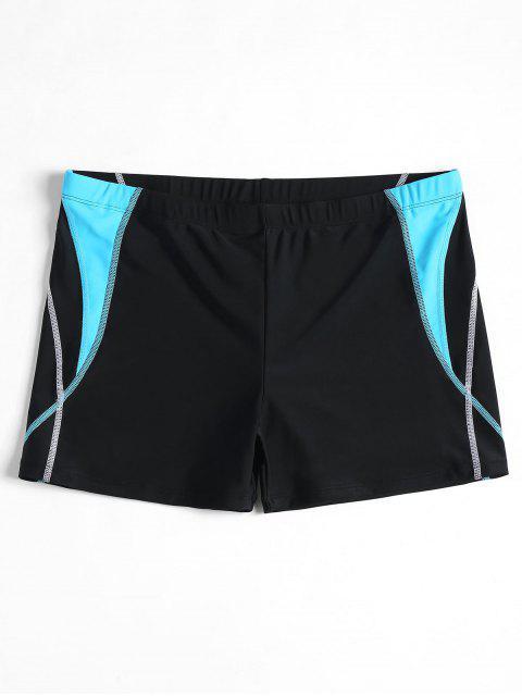 chic Stitching Color Block Swim Trunks - BLACK XL Mobile