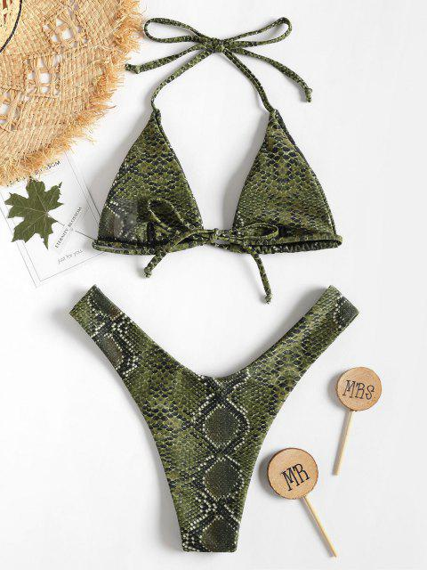 ZAFUL Bikini de Pierna Alta de Halter de Piel de Serpiente - Verde de Helecho S Mobile