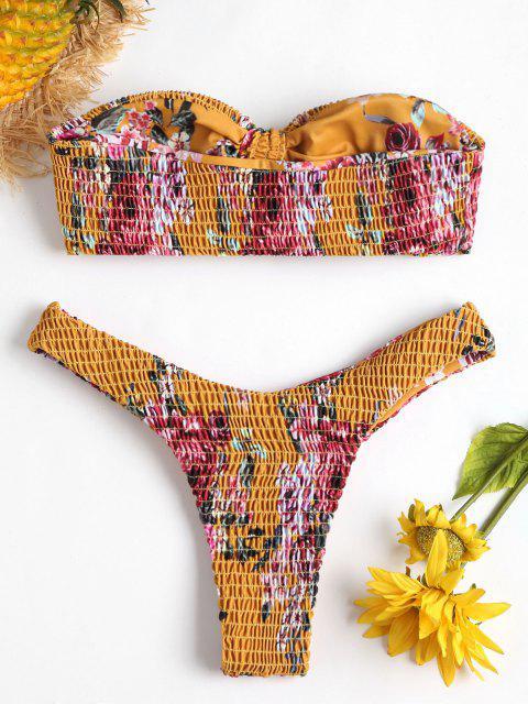 shop Smocked Floral High Leg Bikini - SCHOOL BUS YELLOW L Mobile