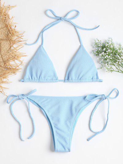 Ribbed String Bikini Set - Light Sky Blue L