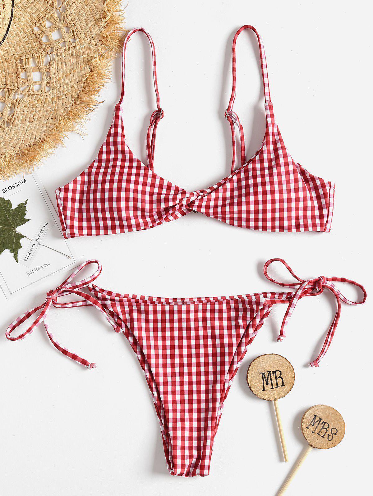 Twist Front Gingham String Bikini Set